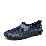 Hombre Zapatos de taco bajo y Slip-Ons Confort Tul Cuero Verano Otoño Exterior Informal Deporte Combinación Tacón PlanoNegro Marrón Verde