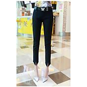 Mujer Sencillo Tiro Medio Microelástico Chinos Empresa Pantalones,Delgado Un Color