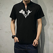 メンズ カジュアル/普段着 Tシャツ,シンプル ラウンドネック ソリッド レーヨン 半袖