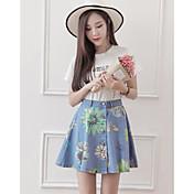 Mujer Tiro Medio Sobre la Rodilla Faldas,Línea A Lápices Floral