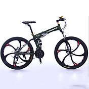 マウンテンバイク 折りたたみ自転車 サイクリング 27スピード 26 inch/700CC 50ミリメートル 男性 ユニセックス 大人 シマノ ダブルディスクブレーキ サスペンションフォーク アルミ合金フレーム 折りたたみ式 普通 アルミニウム レッド 黄色 白 ブラック