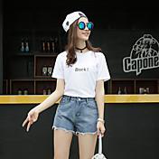 Mujer Adorable Sencillo Tiro Alto Inelástica Vaqueros Shorts Pantalones,Perneras anchas Un Color