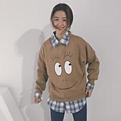 レディース カジュアル/普段着 スウェットシャツ プリント ラウンドネック マイクロエラスティック コットン 長袖