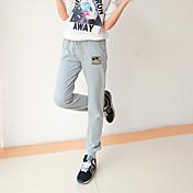 Mujer Sencillo Tiro Medio Microelástico Chinos Pantalones de Deporte Pantalones,Corte Recto Un Color