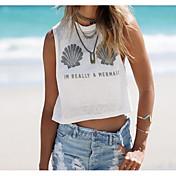 Mujer Simple Casual/Diario Camiseta,Escote Redondo Estampado Sin Mangas Algodón Fino