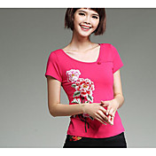Mujer Tejido Oriental Festivos Camiseta,Escote Redondo Bordado Manga Corta Algodón