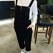 レディース ストリートファッション ミッドライズ ルーズ マイクロエラスティック オーバーオール パンツ ゼブラプリント