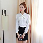 Mujer Bonito Casual/Diario Trabajo Camisa,Escote Chino Un Color Manga Larga Poliéster