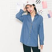 レディース カジュアル/普段着 シャツ,シンプル シャツカラー ソリッド その他 長袖