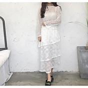 Mujer Tiro Alto Midi Faldas,Línea A Lápices Un Color