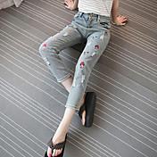 Mujer Sencillo Tiro Medio Microelástico Vaqueros Pantalones,Pantalones Harén Estampado
