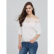 Mujer Chic de Calle Casual/Diario Verano Camiseta,Escote Barco Un Color Manga Corta Algodón / Licra Azul / Blanco Fino