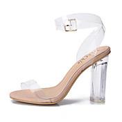 レディース-ドレスシューズ カジュアル パーティー-ポリ塩化ビニール-チャンキーヒール ブロックヒール-透明靴-サンダル-ホワイト