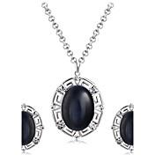 Colgantes Collar Pendientes Set Negro Gema Moda Euramerican Gema Brillante Legierung Forma Oval 1 Collar 1 Par de Pendientes ParaBoda