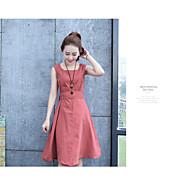 Mujer Línea A Vestido Casual/Diario Bonito,Un Color Escote Redondo Sobre la rodilla Sin Mangas Algodón Primavera Tiro Medio Microelástico