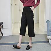 Mujer Sexy Sencillo Tiro Medio Microelástico Chinos Pantalones,Perneras anchas Un Color