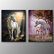 キャンバスプリント 動物 クラシック,2枚 キャンバス 横長 版画 壁の装飾 For ホームデコレーション