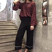 Mujer Chic de Calle Tiro Medio Microelástico Chinos Pantalones,Perneras anchas Un Color A Rayas