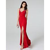 Funda / Columna Cuello en V Larga Jersey Evento Formal Vestido con Detalles de Cristal Frontal Abierto por TS Couture®