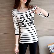 Mujer Simple Noche Camiseta,Escote Redondo A Rayas Manga Larga Algodón