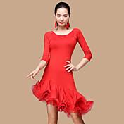 私たちはラテンダンスドレス女性ポリエステルチュール2衣装ダンス