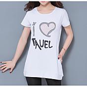 Mujer Simple Casual/Diario Camiseta,Escote Redondo Estampado Manga Corta Algodón Fino