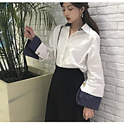 Mujer Simple Casual/Diario Camisa,Cuello Camisero Un Color Manga Larga Otro