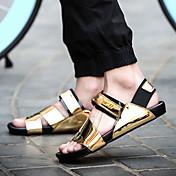 Masculino-Sandálias-Chanel-Salto Grosso--Couro Ecológico-Casual