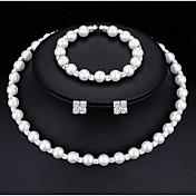 Smykke Sæt Perlehalskæde Imiteret Perle Kvadratisk Zirconium Mode Multi-bæremåder beklædning Legering Rund form Hvid1 Halskæde 1 Par
