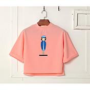Mujer Simple Casual/Diario Camiseta,Escote Redondo Un Color Manga Corta Poliéster Fino