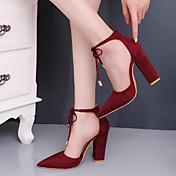 Mujer Tacones Confort Zapatos del club Ante Primavera Otoño Vestido Fiesta y Noche Confort Zapatos del club Con Cordón Tacón RobustoVerde