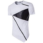 メンズ カジュアル/普段着 Tシャツ,ストリートファッション ラウンドネック カラーブロック ポリエステル 半袖