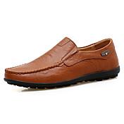 Hombre Zapatos Cuero Primavera Otoño Confort Zapatos de taco bajo y Slip-On Lunares Para Deportivo Casual Negro Marrón Claro Morrón Oscuro