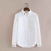 レディース カジュアル/普段着 シャツ,シンプル シャツカラー ソリッド ナイロン 長袖