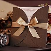 Envuelve y Guarda Invitaciones De Boda 50-Tarjetas de invitación Estilo moderno Papel de Perla Lazo de Cinta
