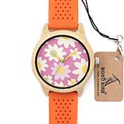 女性用 ファッションウォッチ リストウォッチ ユニークなクリエイティブウォッチ カジュアルウォッチ 腕時計 ウッド 日本産 クォーツ 日本産クォーツ 木製 シリコーン バンド ビンテージ クール カジュアルスーツ 創造的 ラグジュアリー オレンジ