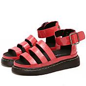 MujerSuelas con luz-Sandalias-Informal-Microfibra-Blanco Negro Rojo