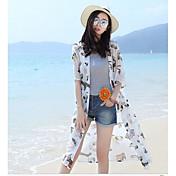 Mujer Simple Casual/Diario Camiseta,Escote Redondo Un Color Manga Corta Seda Translúcido