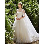 Salón Watteau Tul Vestido de novia con Cristal Cuentas Lentejuela Apliques por HUA XI REN JIAO