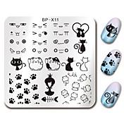 Roztomilý kočka design nehty výtvarné razítko razítka desky narodil se pěkný 6 * 6cm čtverec šablony kočky image plate bp-x11