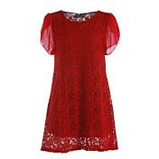 Mujer Línea A Vestido Noche Casual/Diario Tallas Grandes Simple,Un Color Escote Redondo Sobre la rodilla Manga Corta PoliésterPrimavera