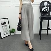 Mujer Sencillo Tiro Medio Microelástico Chinos Pantalones,Ajustado a la Bota Perneras anchas Un Color
