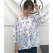 Mujer Simple Bonito Casual/Diario Primavera Verano Camisa,Escote Barco Floral Manga Larga Algodón Fino