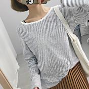レディース カジュアル/普段着 Tシャツ,シンプル ラウンドネック ソリッド 幾何学模様 ポリエステル 長袖