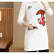Mujer Simple Casual/Diario Primavera Camiseta,Escote Redondo Bordado Manga Larga Algodón Medio