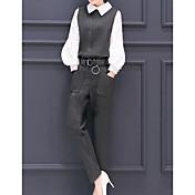 レディース ワーク 春 シャツ パンツ スーツ,ストリートファッション シャツカラー ソリッド 長袖
