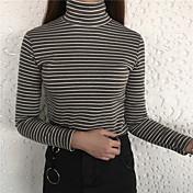 Mujer Simple Casual/Diario Primavera Camiseta,Cuello Alto A Rayas Manga Larga Algodón Opaco