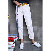 Mujer Chic de Calle Tiro Alto Microelástico Vaqueros Pantalones,Corte Recto Un Color