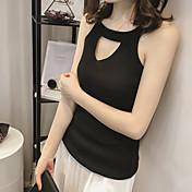 Mujer Simple Casual/Diario Primavera Verano Camiseta,Escote Redondo Un Color Sin Mangas Algodón Fino