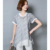 Mujer Sofisticado Casual/Diario Camiseta,Escote Chino Bloques Manga Corta Otro
